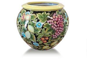 Sphere-Pot Futta fondo nero, Spherical vase