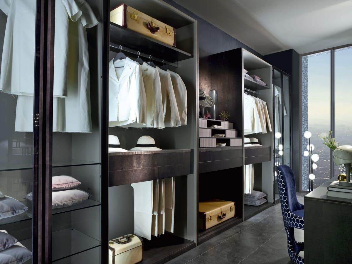 AR27 Galileo wardrobe, Modular walk-in closet with glass elements