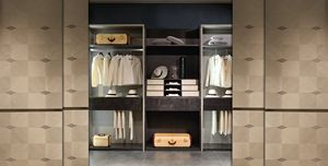 AR27 Galileo wardrobe, Modular walk-in closet with glass elements
