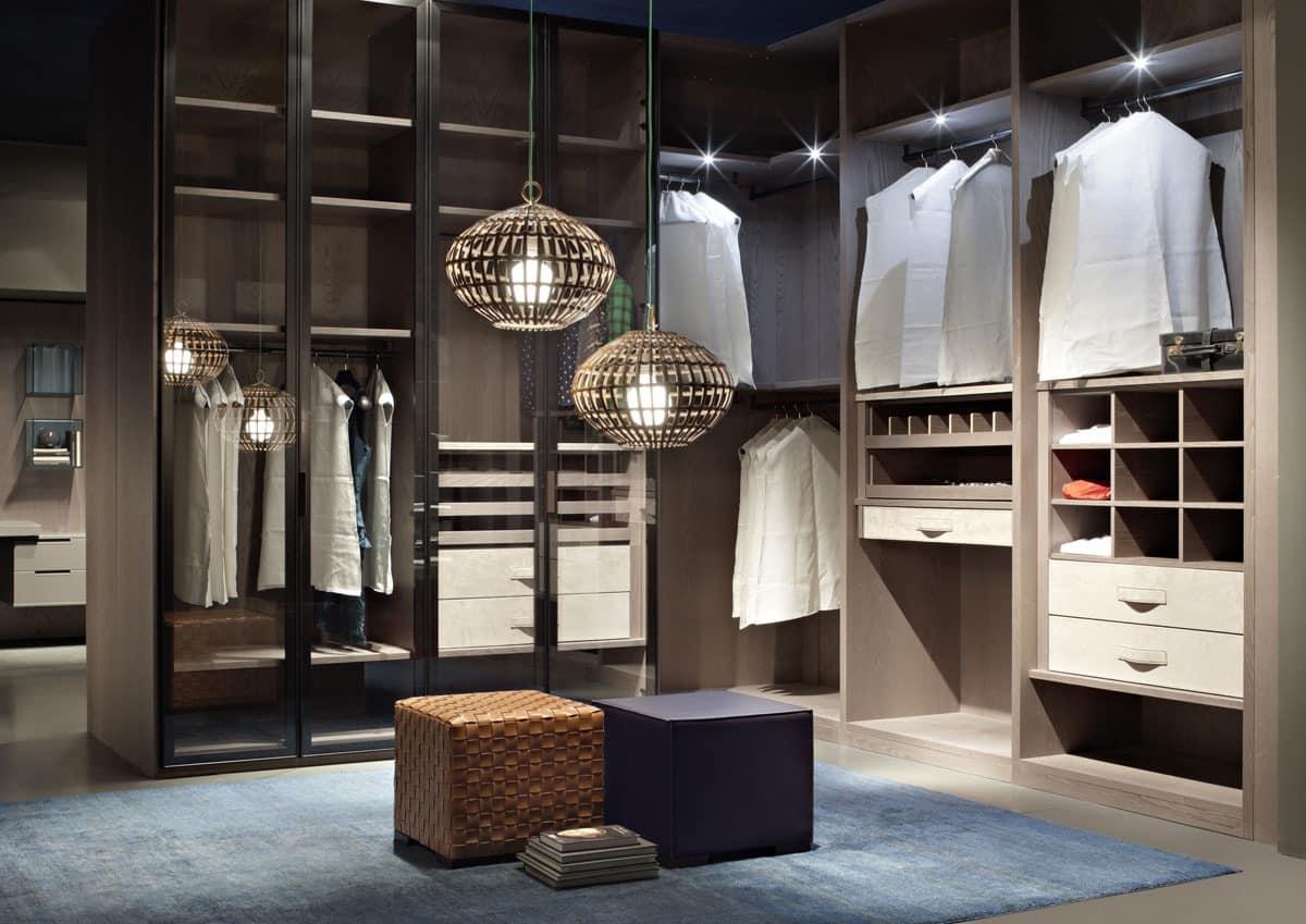 ATLANTE walk-in wardrobe comp.05, Walk-in closet, aesthetic order, customizable measures
