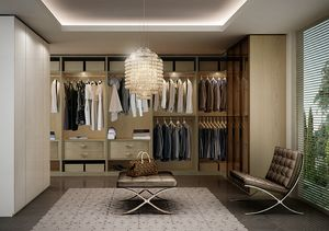 ATLANTE walk-in wardrobe comp.06, Walk-in closet, space optimization, various finishes