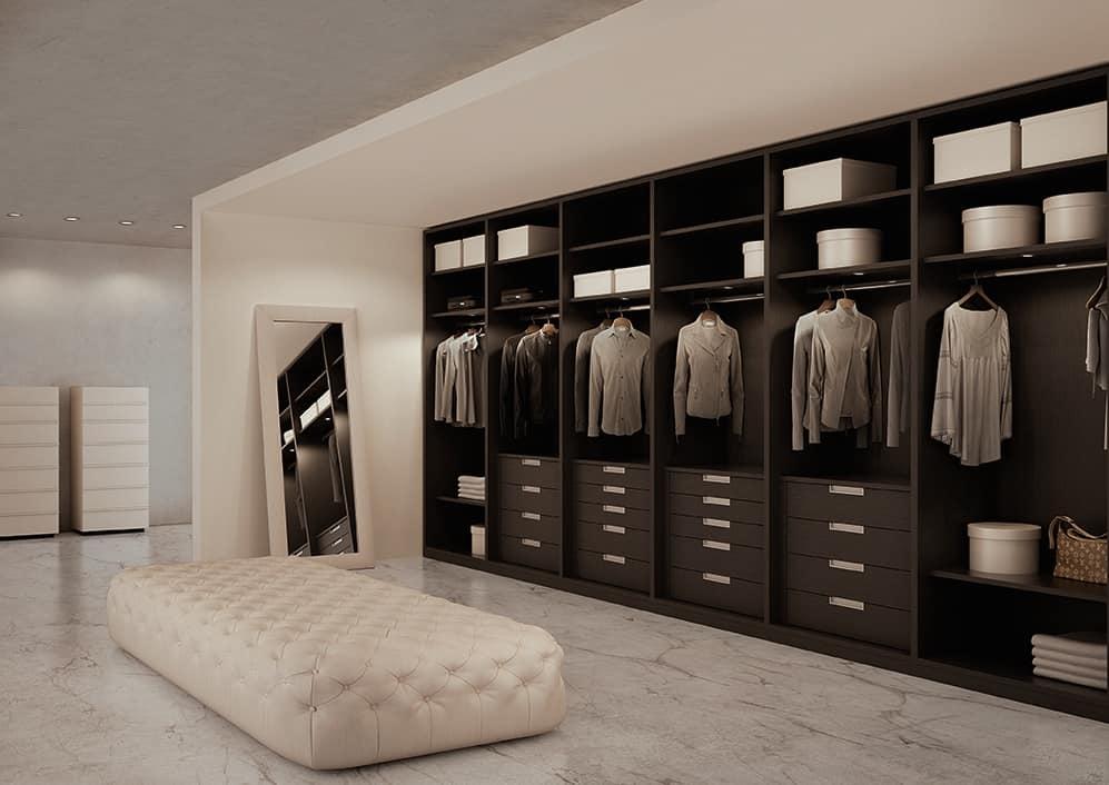 ATLANTE walk-in wardrobe comp.07, Wardrobe in gray oak, customizable measures
