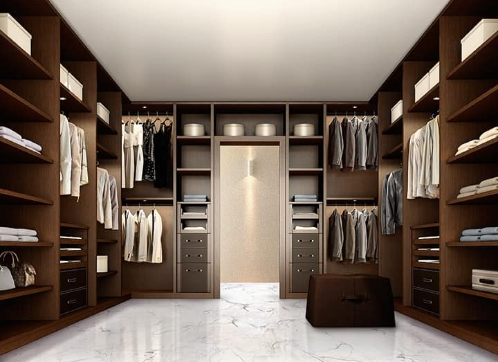 ATLANTE walk-in wardrobe comp.10, Elegant walk-in wardrobe for bedroom, made of dark walnut