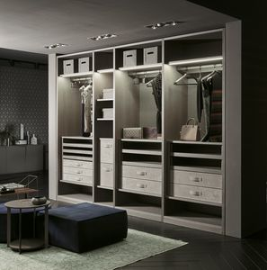 ATLANTE walk-in wardrobe comp.12, Wardrobe cabinet with leather backs