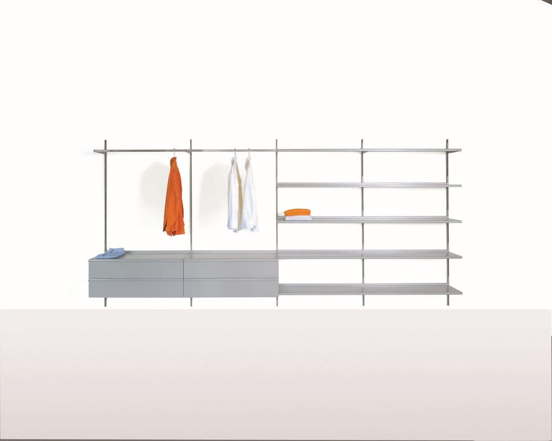Elle System Wardrobe, Modular furniture for walk-in cabinets, with customizable elements