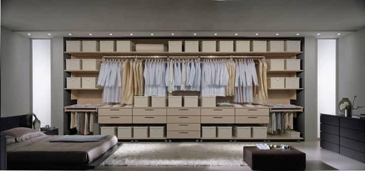 Wardrobe 23, Walk-in closet, modular, with drawers on castors