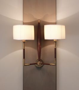 AMMOS HL1006WA-2, Wall lamp in leather with lampshades