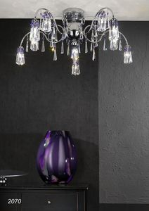 Art. 2070 Orion, Ceiling lamp in chromed brass and crystal