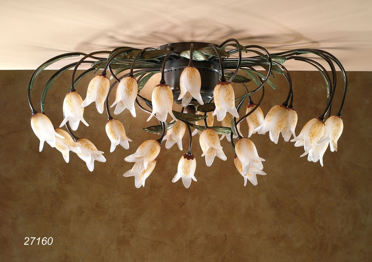 Art. 27160 Butterfly, Ceiling lamp with Murano glass flowers
