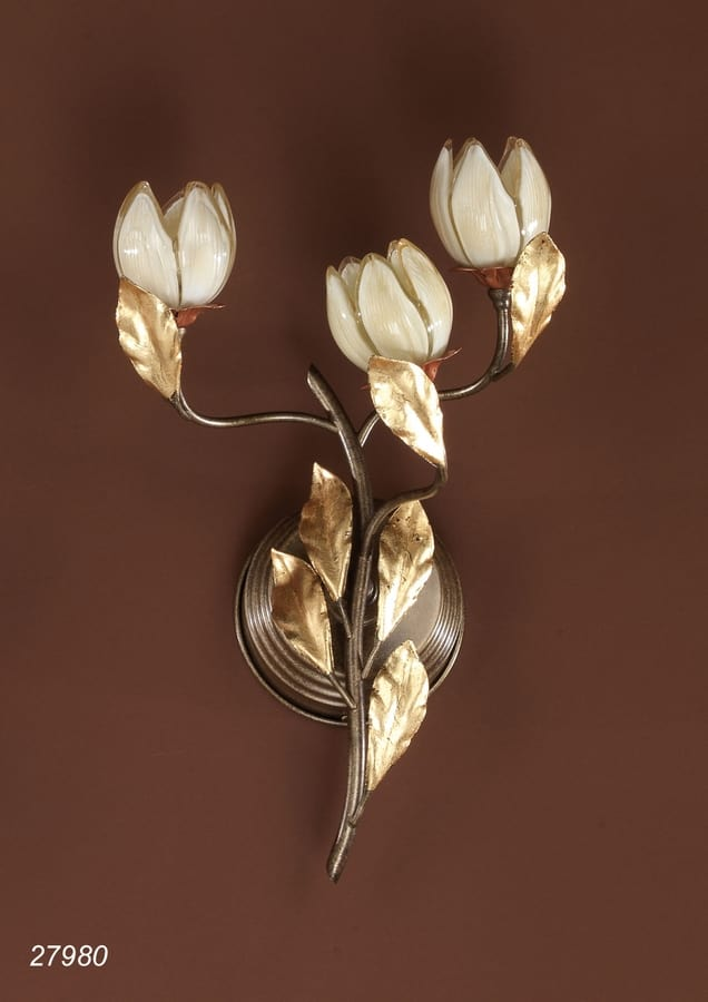 Art. 27980 Fior di Loto, Wall lamp in glass and brass