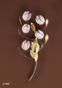 Art. 27990 Fior di Loto, Wall lamp with pink glass flowers