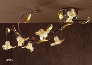 Art. 29880 Jolie, Classical ceiling lamp in glass and brass