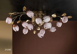 Art. 31240 Fior di Loto, Handcrafted ceiling lamp with flowers