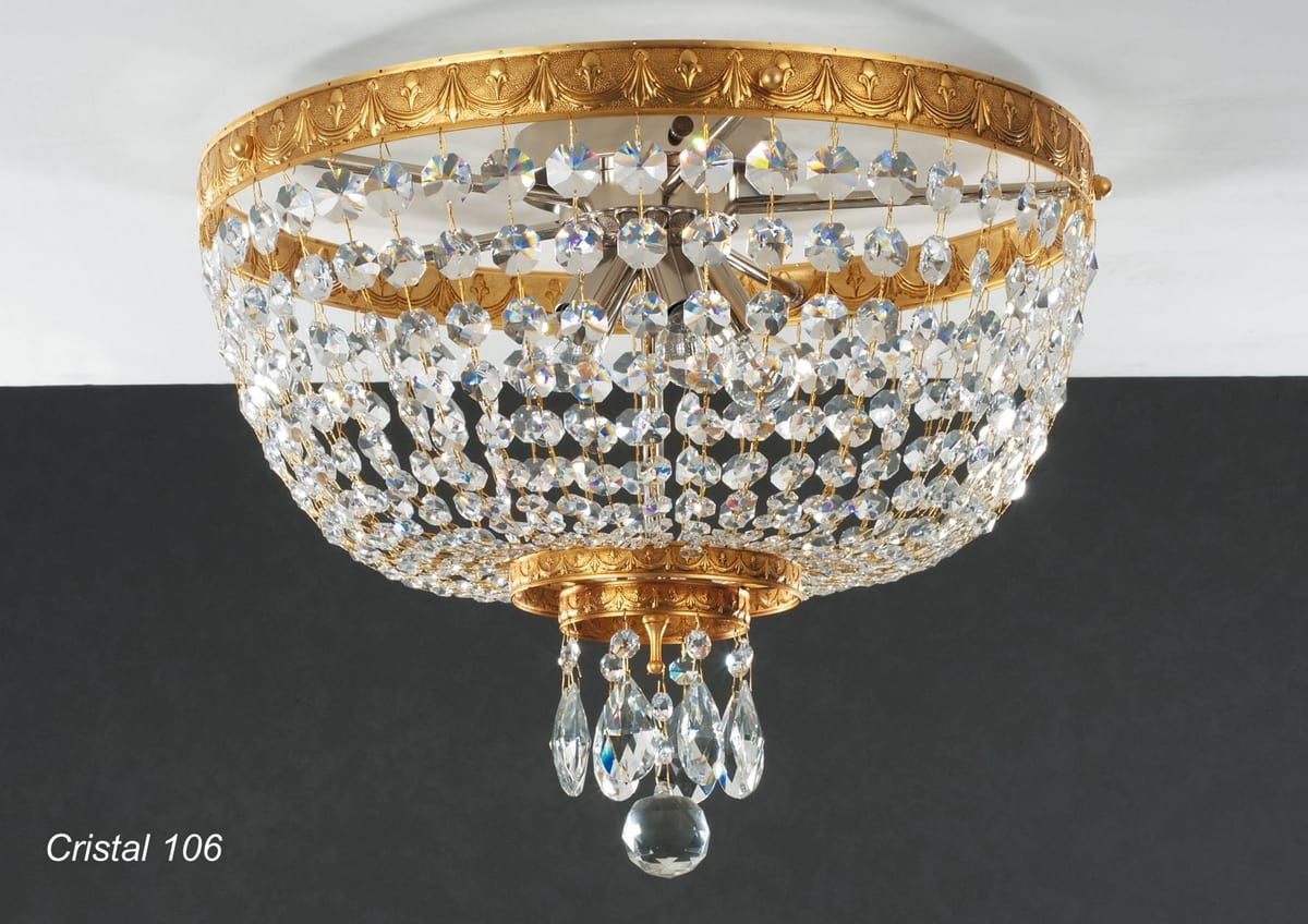 Art. CRISTAL 106, Ceiling lamp in golden brass with crystal pendants