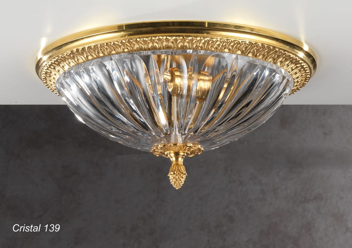 Art. CRISTAL 139, Ceiling lamp with cut crystal bowl