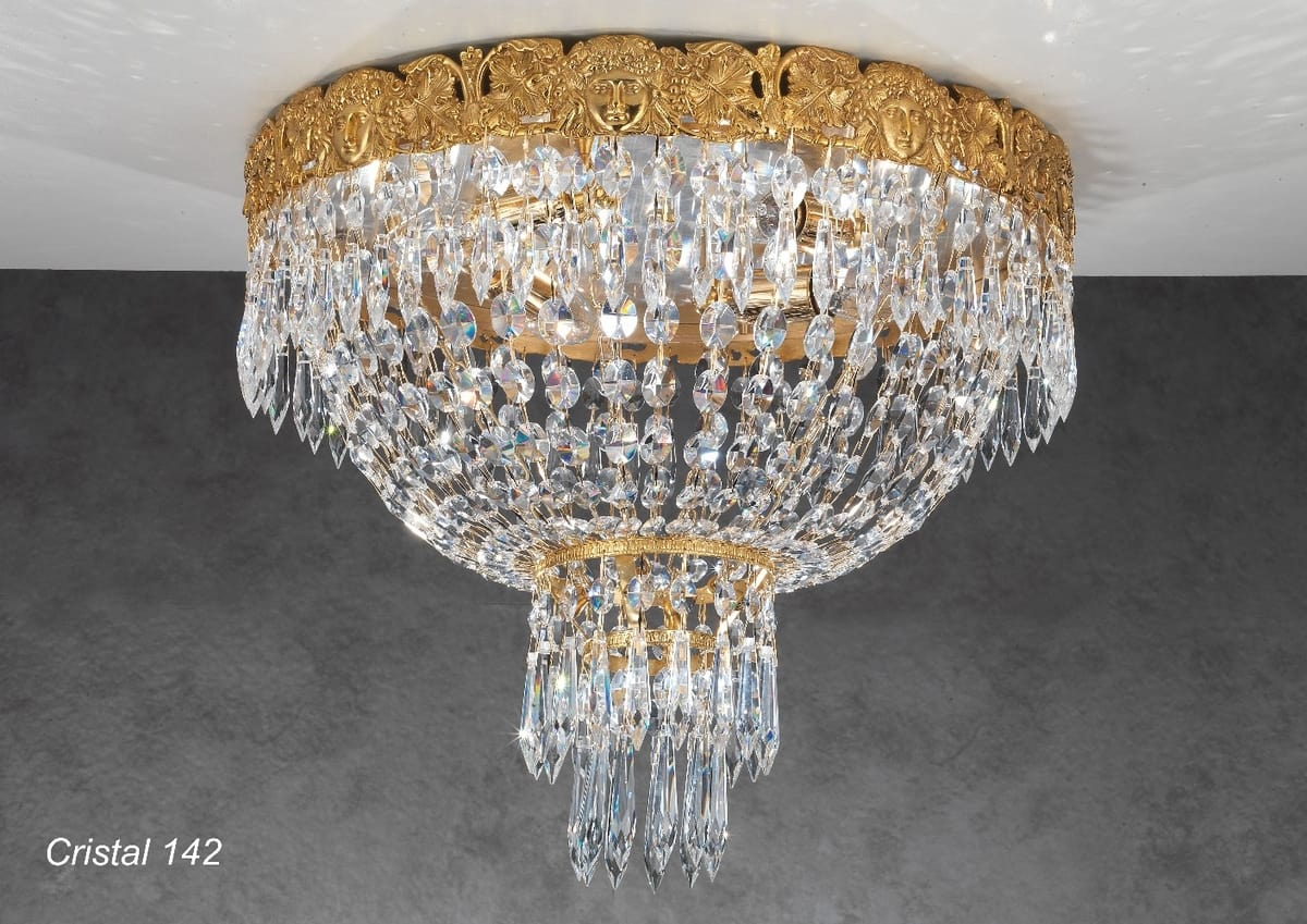 Art. CRISTAL 142, Luxurious ceiling light with crystal pendants