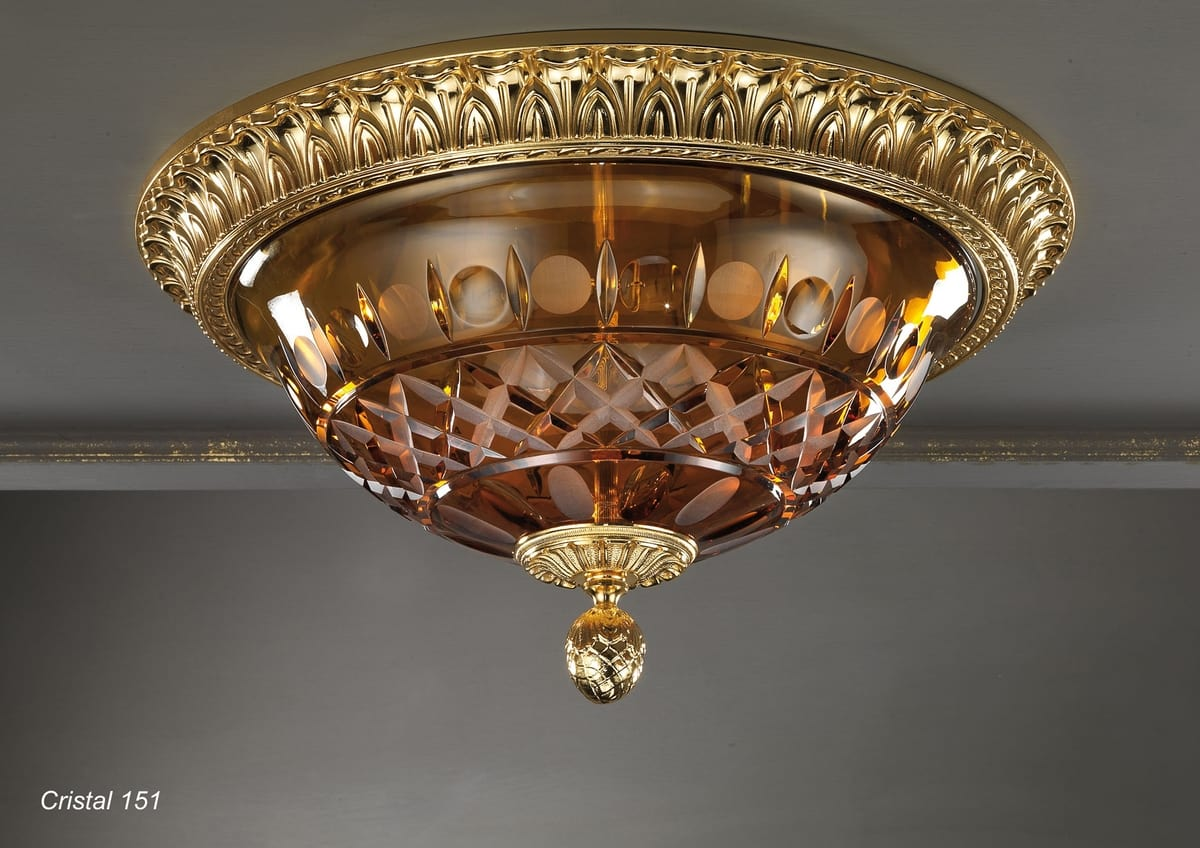 Art. CRISTAL 151, Ceiling light with amber crystal bowl