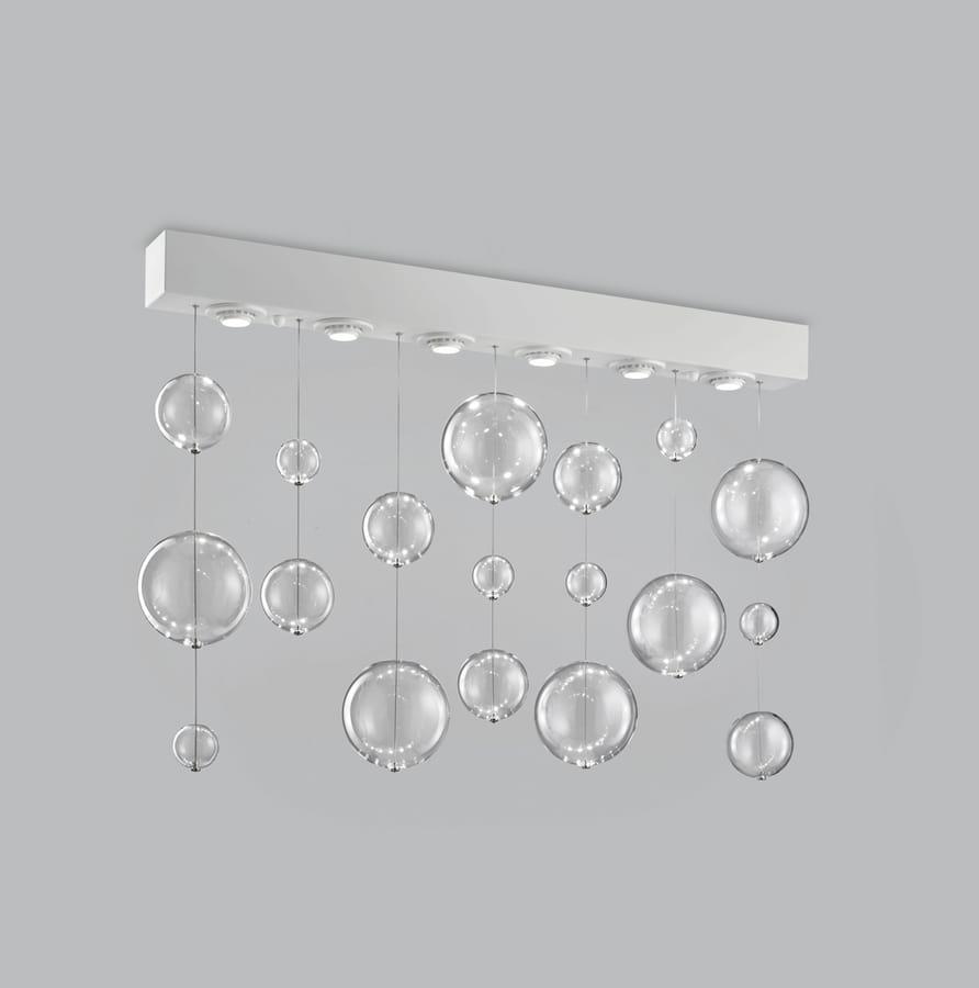 BOLERO H 70, Rectangular ceiling lamp with blown glass spheres