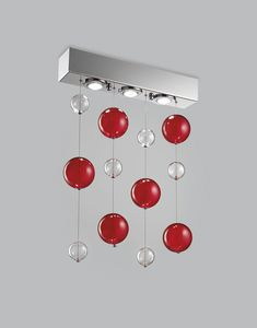 BOLERO H 70, Ceiling lamp with blown glass spheres