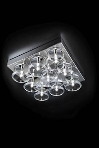 CAPRICCIO L 36, Square ceiling lamp with crystal pendants