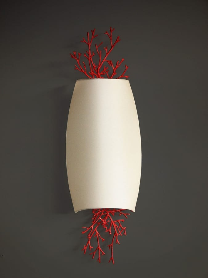 CORALLI HL1048WA-2, Wall lamp in iron and red coral