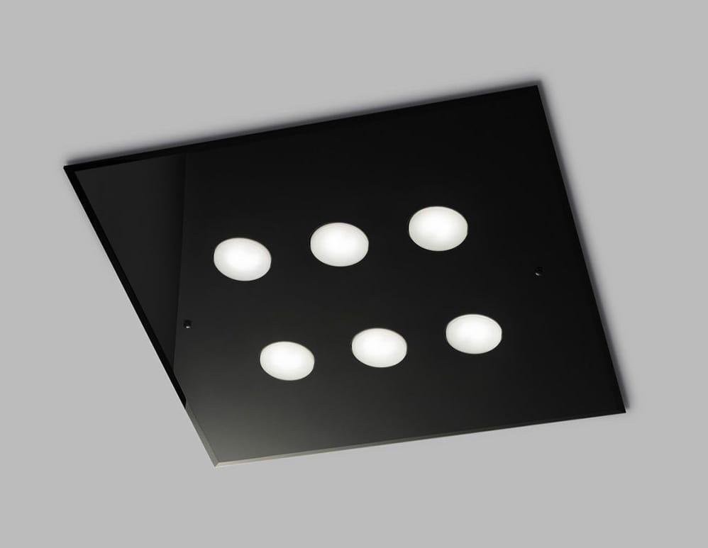 DADO L 60 x 60, Square ceiling lamp in glass