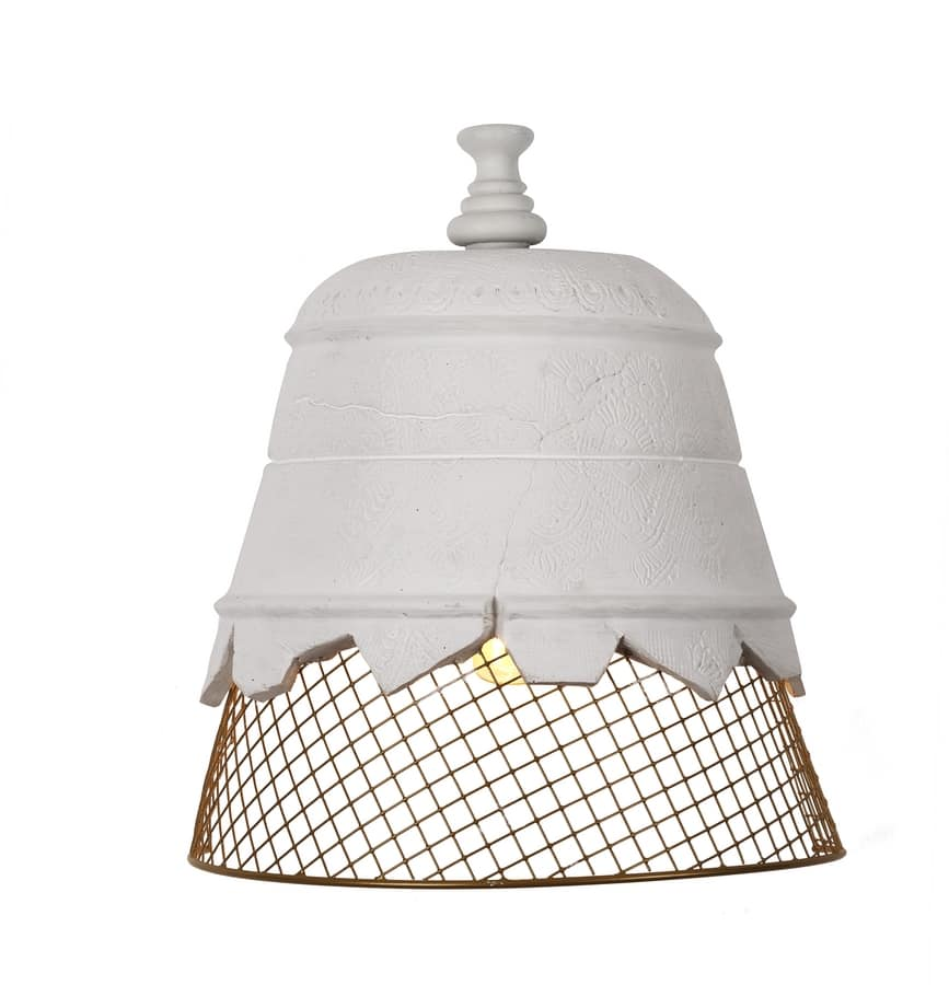 Wall Lamp In Plaster And Wire Mesh Idfdesign