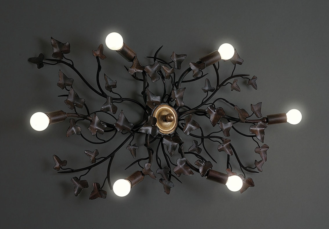 EDERA HL1047PL-6, Ceiling lamp in iron with ivy leaves