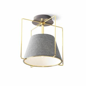 Kengo, Ceiling lamp with gray fabric diffuser