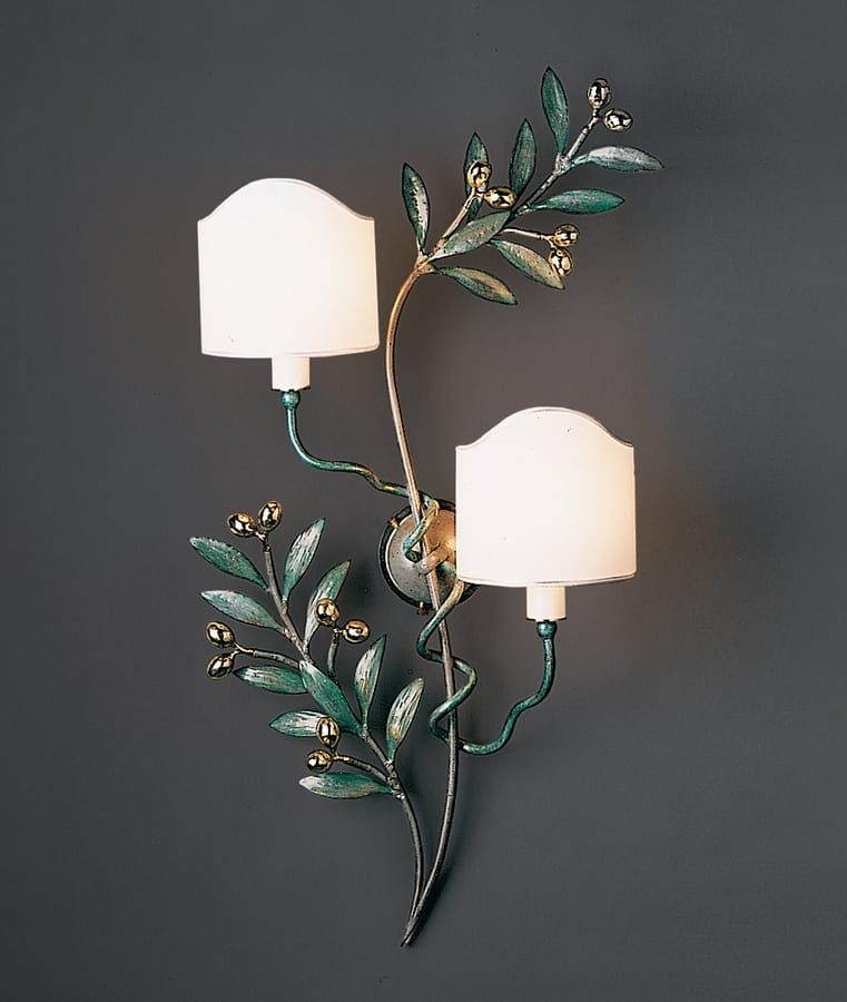 OLIVO HL1095WA-2B, Wall lamp in shiny green brass
