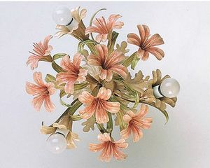 PL.4365/3, Ceiling lamp in glass with floral finishes