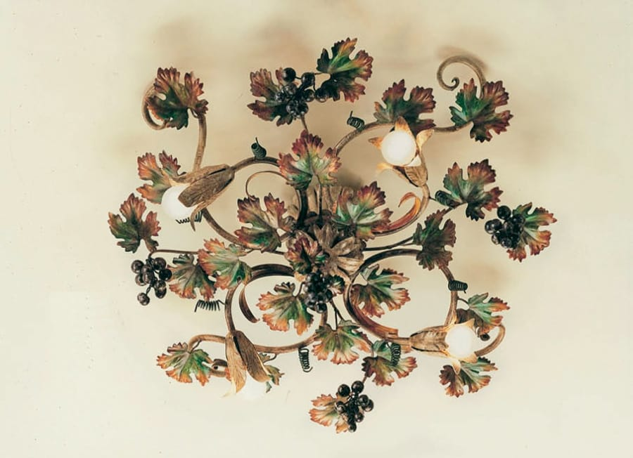PL.5790/4, Ceiling lamp in wrought iron, autumn decorations