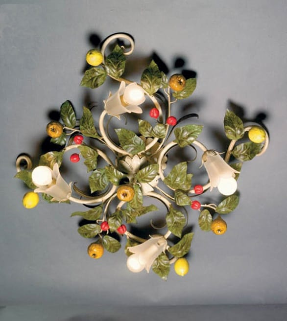 PL.7420/4, Ceiling lamp with decorative leaves and fruit