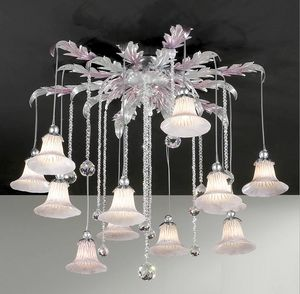 PL.7665/12, Ceiling lamp with crystal pendants