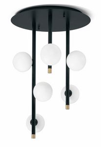Pom�, Ceiling lamp with white glass spheres