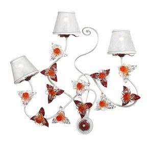 Rose AP/3, Wall lamp with Murano glass decorations