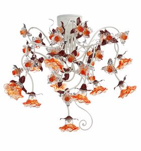 Rose PL/10, Ceiling lamp with glass decorations