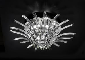 SURF � 60, Ceiling lamp in chromed metal and crystal