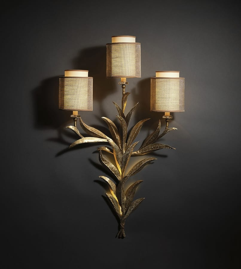 TIMELESS HL1005WA-3, Wall lamp with iron leaves and lampshades