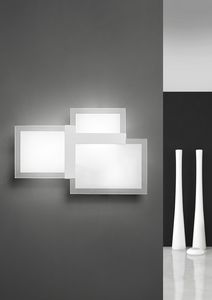 Triquadro, Wall lamp, in metal and glass