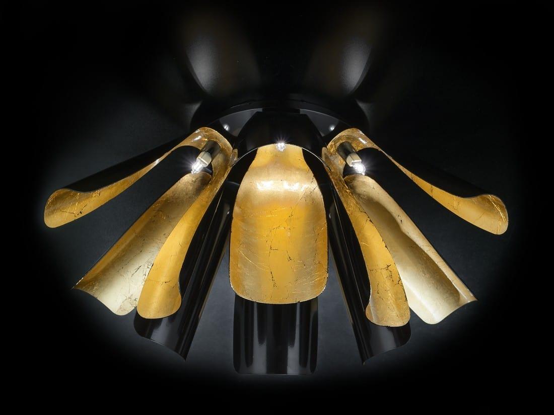 TROPIC Ø 100, Ceiling lamp in gold leaf
