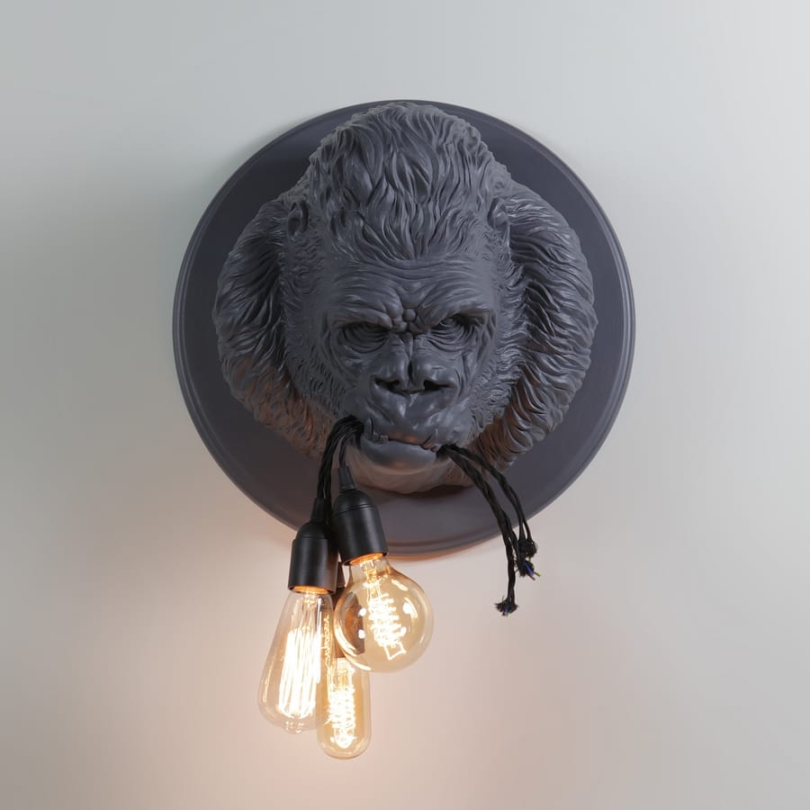 Ugo Rilla AP152, Lamp in the shape of a gorilla, made of ceramic