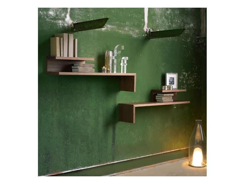 Acrobat, Shelf in oak and walnut, lacquered or opaque