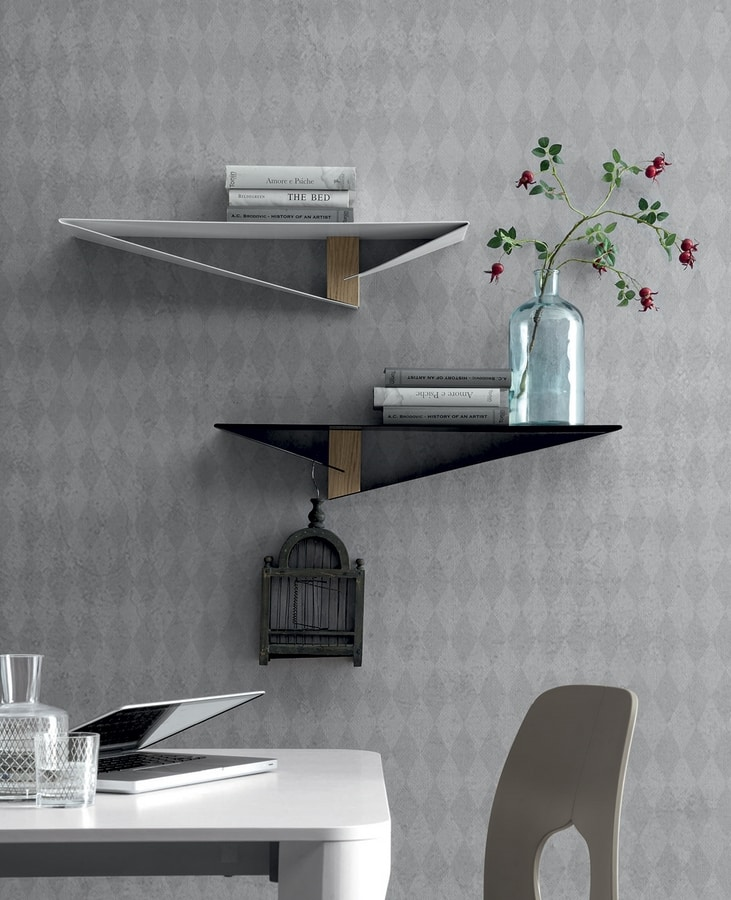 ALBATROS, Metal shelf with central element  in wood finish