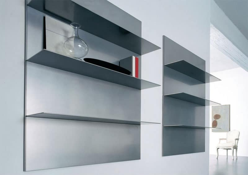 ALL comp.01, Linear shelves for living room and library, in aluminum