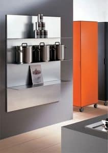 ALL comp.03, Aluminum shelves for the kitchen, in a linear style