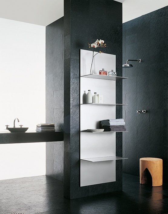 ALL comp.04, Shelves in extruded aluminum, different finishes, for bathroom