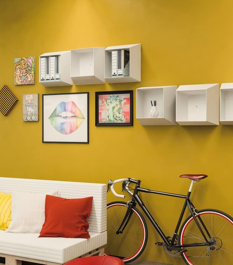 Art. 874 Campus, White polypropylene wall shelf
