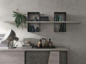 MODUS ML502, Shelf in laminate and painted metal, for living room