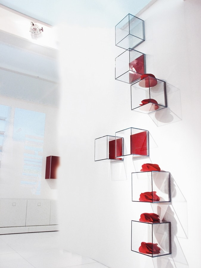 GLASSBOX comp.02, Shelf in wooden and glass, in various finishes
